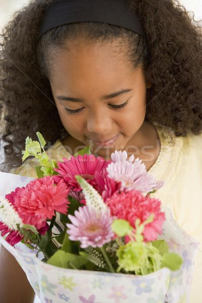 Сток-фото: букет · цветы · девушки · детей · ребенка