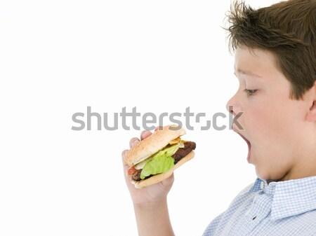 Mangiare cheeseburger bambini felice ragazzo Foto d'archivio © monkey_business