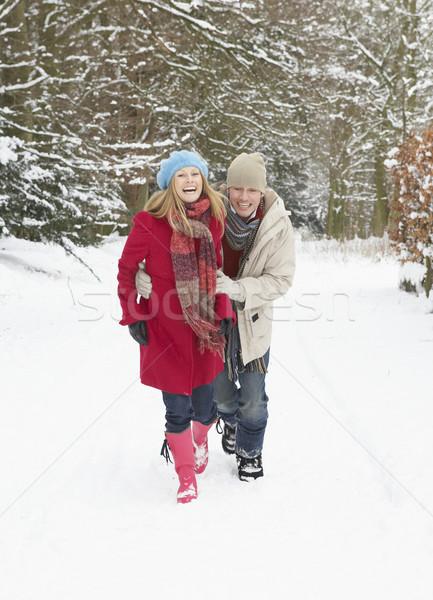 Couple Walking Through Snowy Woodland Stock photo © monkey_business