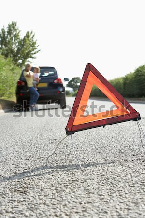 Family Broken Down On Country Road With Hazard Warning Sign In F Stock photo © monkey_business