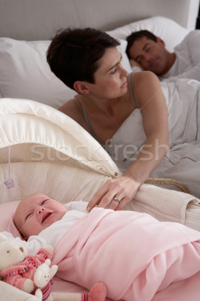 Newborn Baby Crying In Cot In Parents Bedroom Stock photo © monkey_business