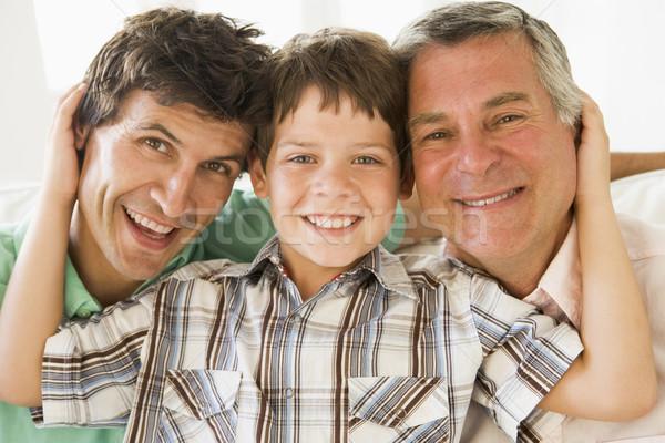Stok fotoğraf: Dede · oğul · torun · gülen · aile · gülümseme