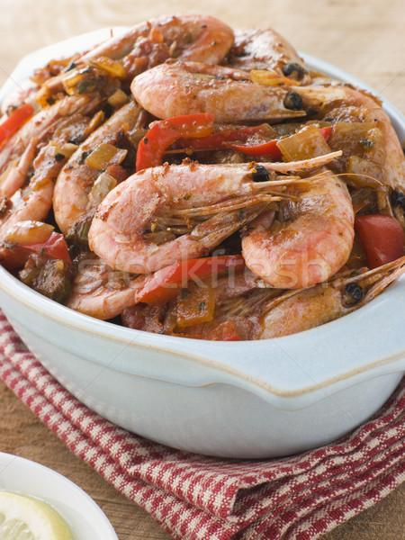 Piatto cajun gamberetti alimentare pomodoro cottura Foto d'archivio © monkey_business