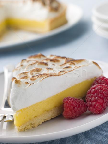 Slice Of Lemon Meringue Pie With Raspberries Stock photo © monkey_business