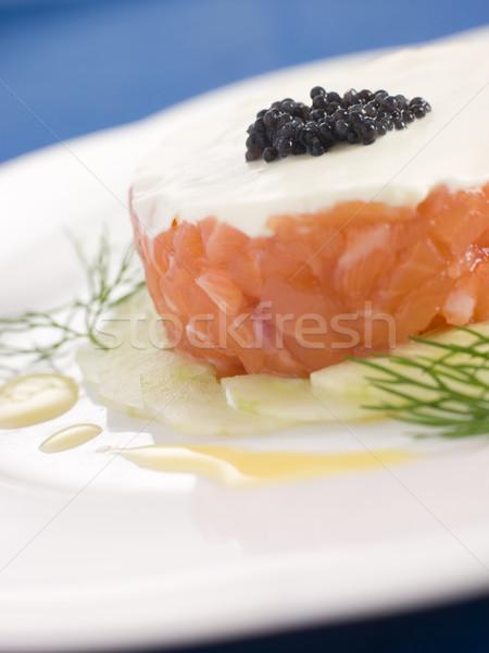 Tartare of Wild Salmon Creme Fraiche Cucumber Caviar and Lemon O Stock photo © monkey_business