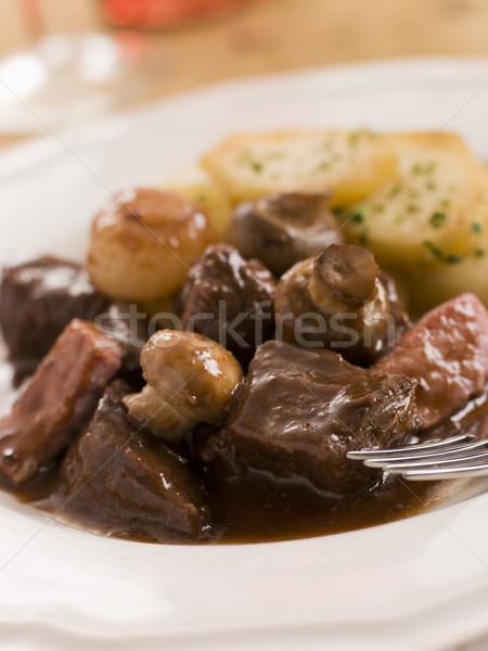 Foto stock: Batatas · batata · refeição · carne · francês · receita