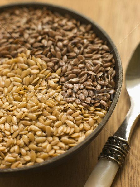 Dish of Golden and Brown Linseed Stock photo © monkey_business