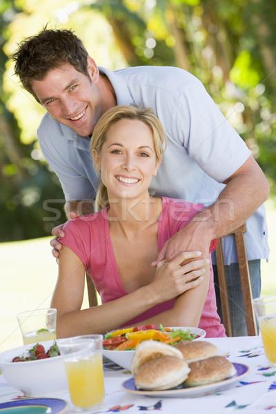 Stockfoto: Familie · genieten · barbecue · vrouw · man · gelukkig