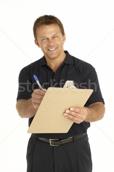 Koerier schrijven gelukkig dienst persoon Stockfoto © monkey_business