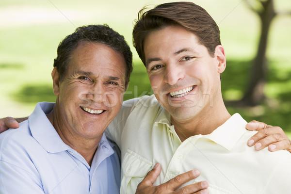 Deux hommes extérieur souriant amour père Photo stock © monkey_business
