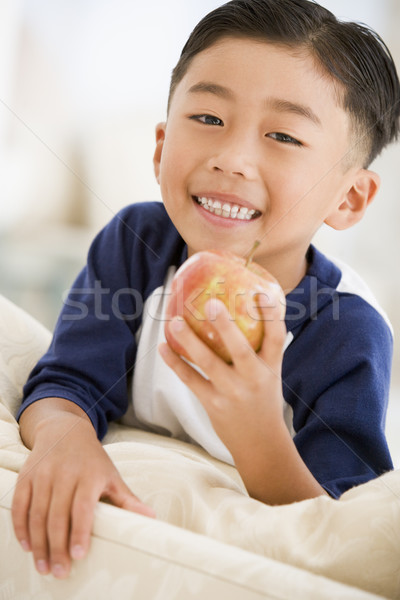 Young boy eating apple in living room smiling Stock photo © monkey_business