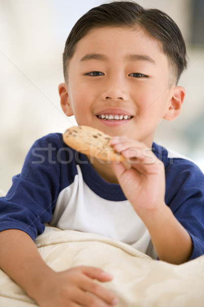 Young boy eating cookie in living room smiling Stock photo © monkey_business