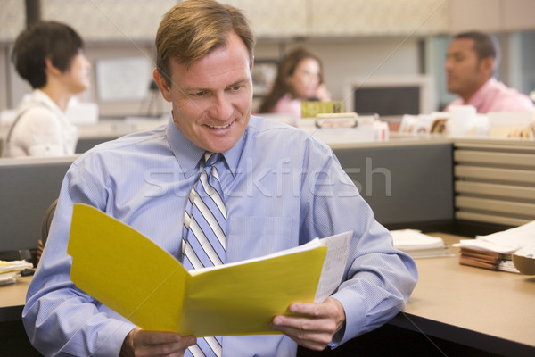 Businessman in cubicle with folder smiling Stock photo © monkey_business