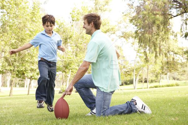 Stockfoto: Vader · zoon · spelen · amerikaanse · voetbal · samen · man