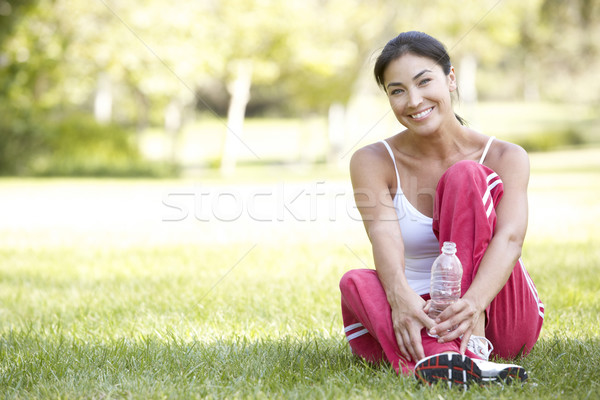 Stock photo: Young Woman Resting After Exercise