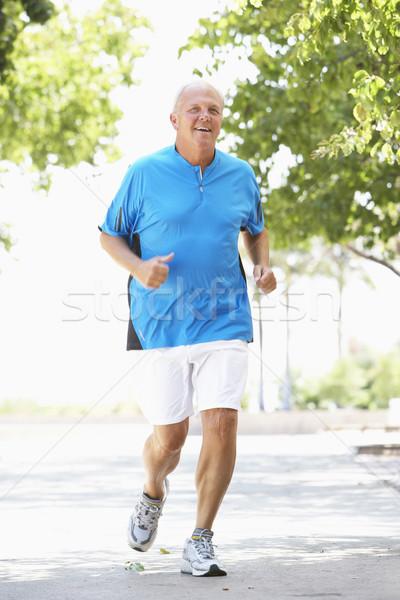 Stock fotó: Idős · férfi · jogging · park · boldog · fut