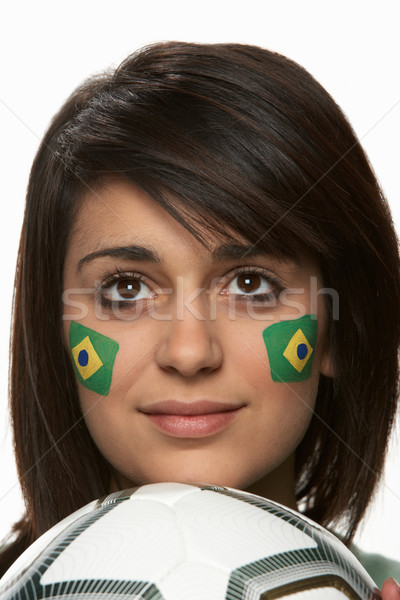 Young Female Football Fan With Brazilian Flag Painted On Face Stock photo © monkey_business