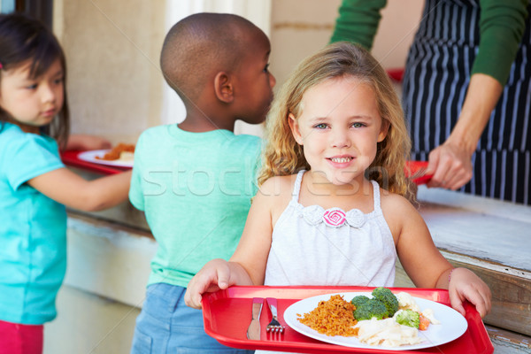 Elementary Pupils Collecting Healthy Lunch In Cafeteria Stock photo © monkey_business