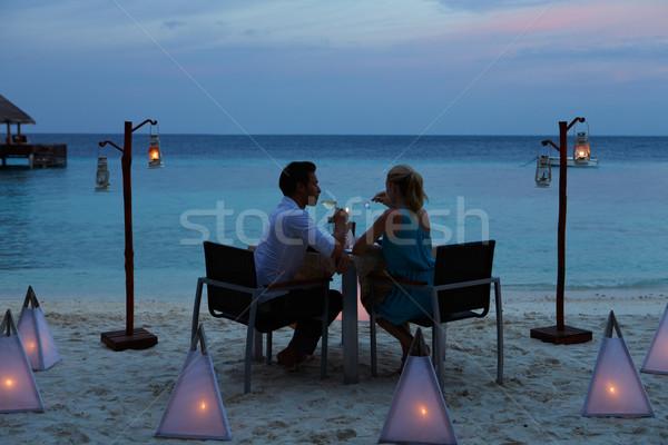Stockfoto: Paar · genieten · laat · maaltijd · outdoor · restaurant