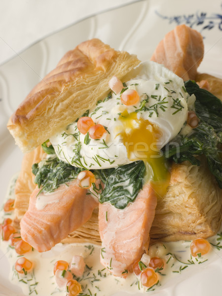 Seared Salmon Spinach and a Poached Egg in a Vol au Vent Case wi Stock photo © monkey_business
