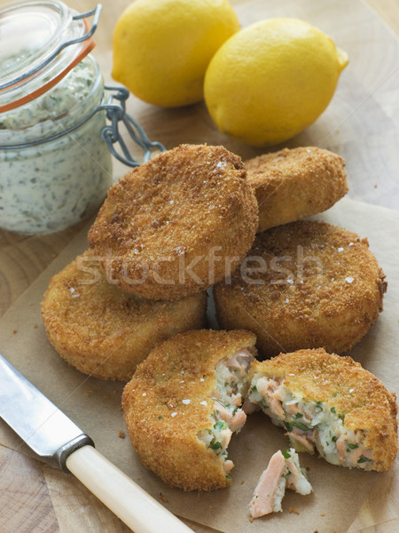 Cod and Salmon Fish Cakes with Tartar Sauce Stock photo © monkey_business