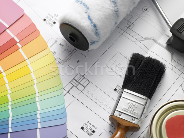 Stock photo: Decorating Equipment On House Plans