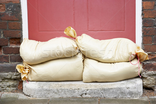 Sandbags Stacked In A Doorway In Preparation For Flooding Stock photo © monkey_business