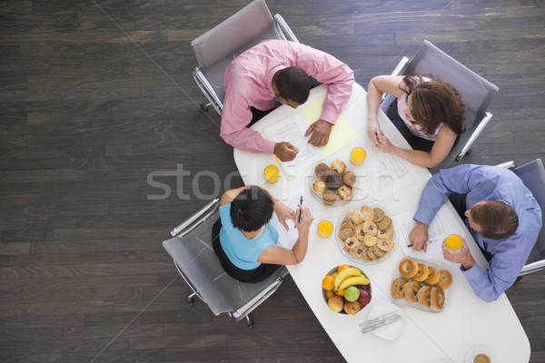 Stockfoto: Vier · boardroom · tabel · ontbijt · business