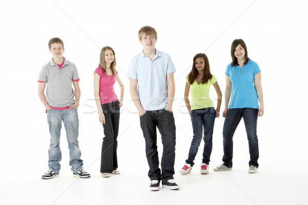 Gruppo adolescente amici studio felice ragazze Foto d'archivio © monkey_business