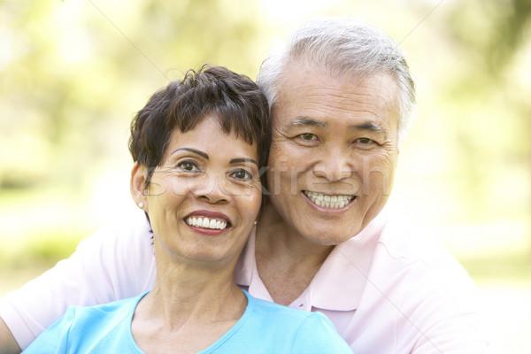 Foto stock: Retrato · casal · de · idosos · parque · homem · casal · jardim