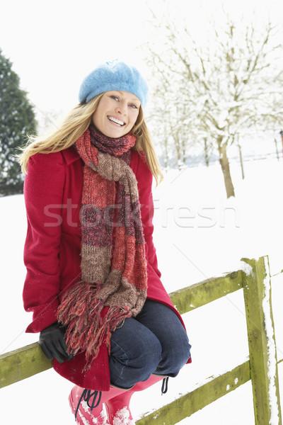女子 常設 外 景觀 雪 冬天 商業照片 © monkey_business