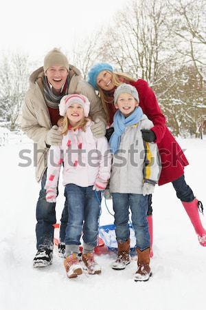 Jovem família alpino neve cena menina Foto stock © monkey_business