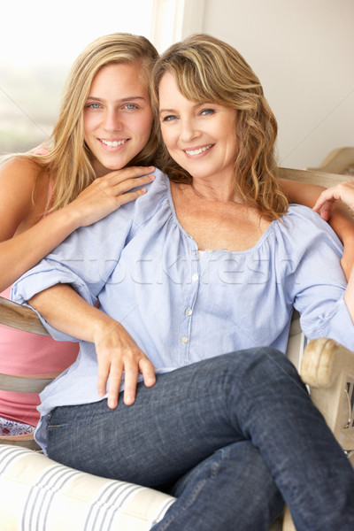 Mid age woman and teenage daughter at home Stock photo © monkey_business