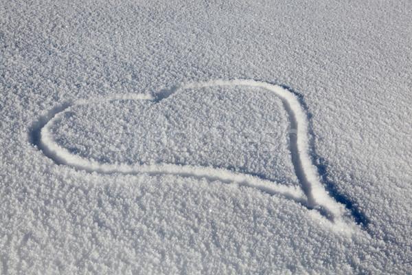 Heart Drawn In Fresh Snow Stock photo © monkey_business