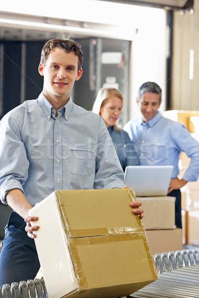 Stockfoto: Werknemers · distributie · magazijn · computer · man · vrouwen