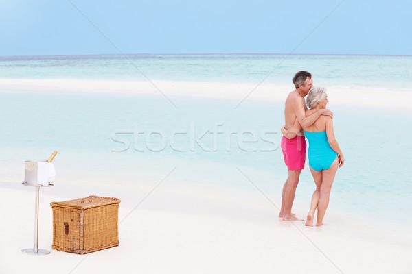 Stock fotó: Idős · pár · tengerpart · luxus · pezsgő · piknik · nyár