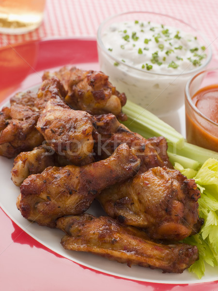 Spicy Buffalo Wings with Blue Cheese Dip Celery and Hot Chilli S Stock photo © monkey_business