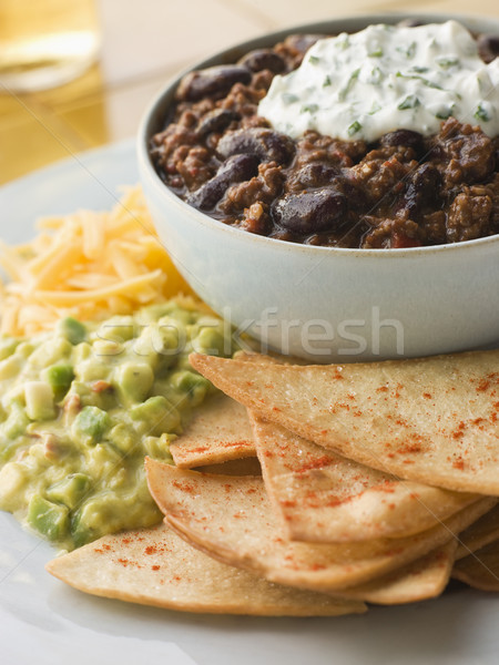 Bowl of Chilli with Tortilla Chips Stock photo © monkey_business