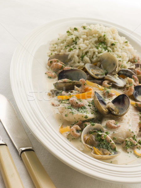 Dover Sole 'Normande' with Herb Rice Stock photo © monkey_business