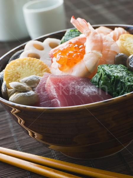 суши риса чаши тунца лосося Сток-фото © monkey_business