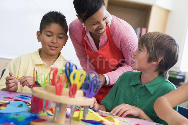 Elementary school art lesson Stock photo © monkey_business