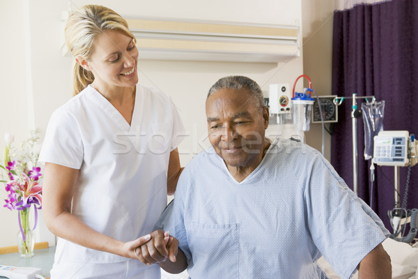Nurse Helping Senior Man To Walk Stock photo © monkey_business