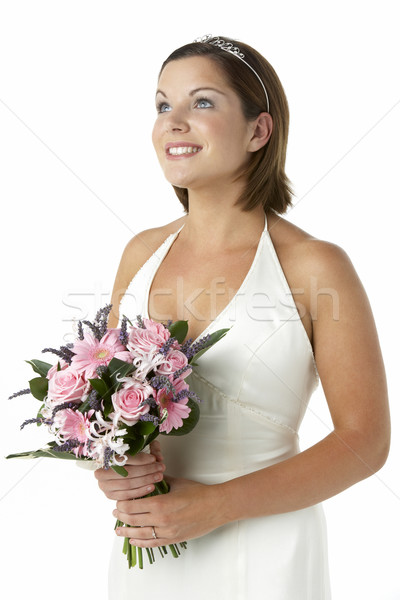 Portrait Of Bride Holding Bouquet Of Flowers Stock photo © monkey_business