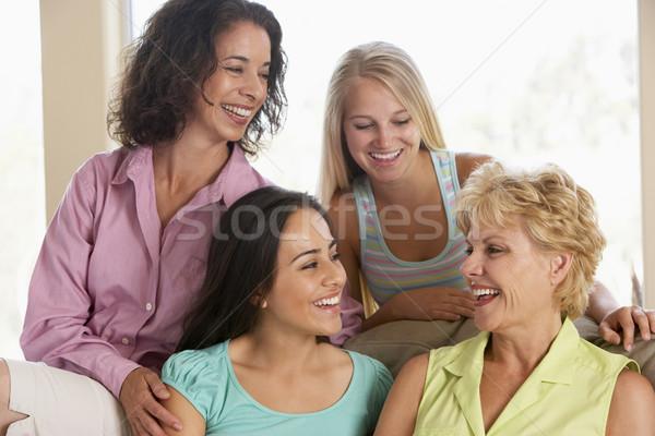 Stockfoto: Twee · vrouwen · vrienden · portret · kleur · glimlachend