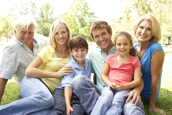 Stock photo: Extended Group Portrait Of Family Enjoying Day In Park