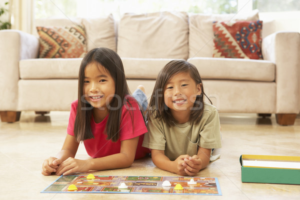 Kettő gyerekek játszik társasjáték otthon portré Stock fotó © monkey_business