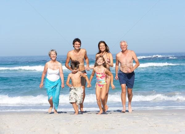 Stockfoto: Drie · generatie · familie · vakantie · lopen · strand