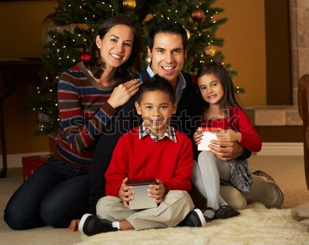 Rodziny prezenty choinka dziewczyna człowiek dziecko Zdjęcia stock © monkey_business