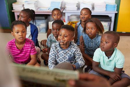 African American father making Christmas cards with children Stock photo © monkey_business