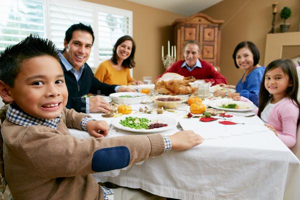 Többgenerációs család ünnepel hálaadás család lány boldog Stock fotó © monkey_business
